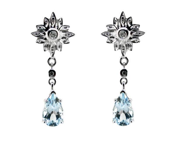 Aquamarine & Diamond Earrings MJ22429