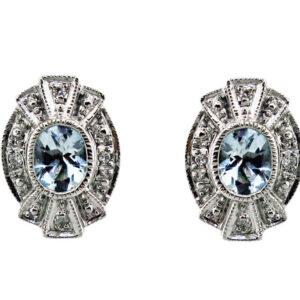 Aquamarine & Diamond Studs MJ22430
