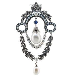 Sapphire & Pearl Brooch MJ22539