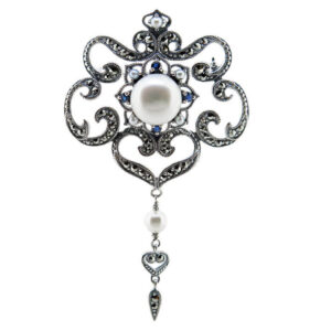 Sapphire & Pearl Brooch MJ22542