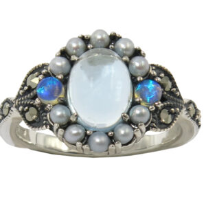 BLUE TOPAZ AND SEEDPEARL RING MJ24376