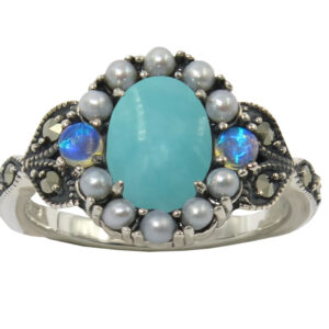 TURQUOISE AND SEEDPEARL RING MJ24378