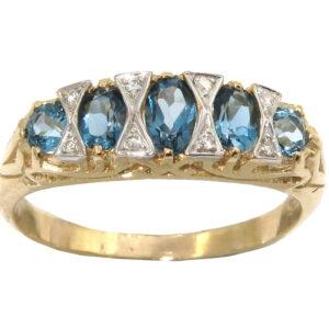 LONDON BLUE TOPAZ AND DIAMOND RING MJ24388