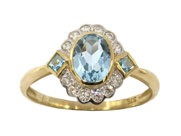 BLUE TOPAZ AND DIAMOND RING MJ24392