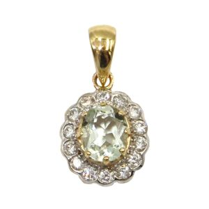 GREEN AMETHYST AND DIAMOND PENDANT MJ24399