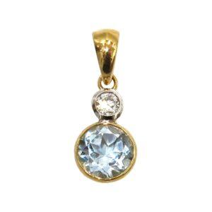 BLUE TOPAZ AND DIAMOND PENDANT MJ24401