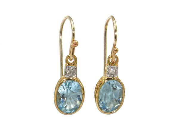 BLUE TOPAZ AND DIAMOND EARRINGS MJ24414