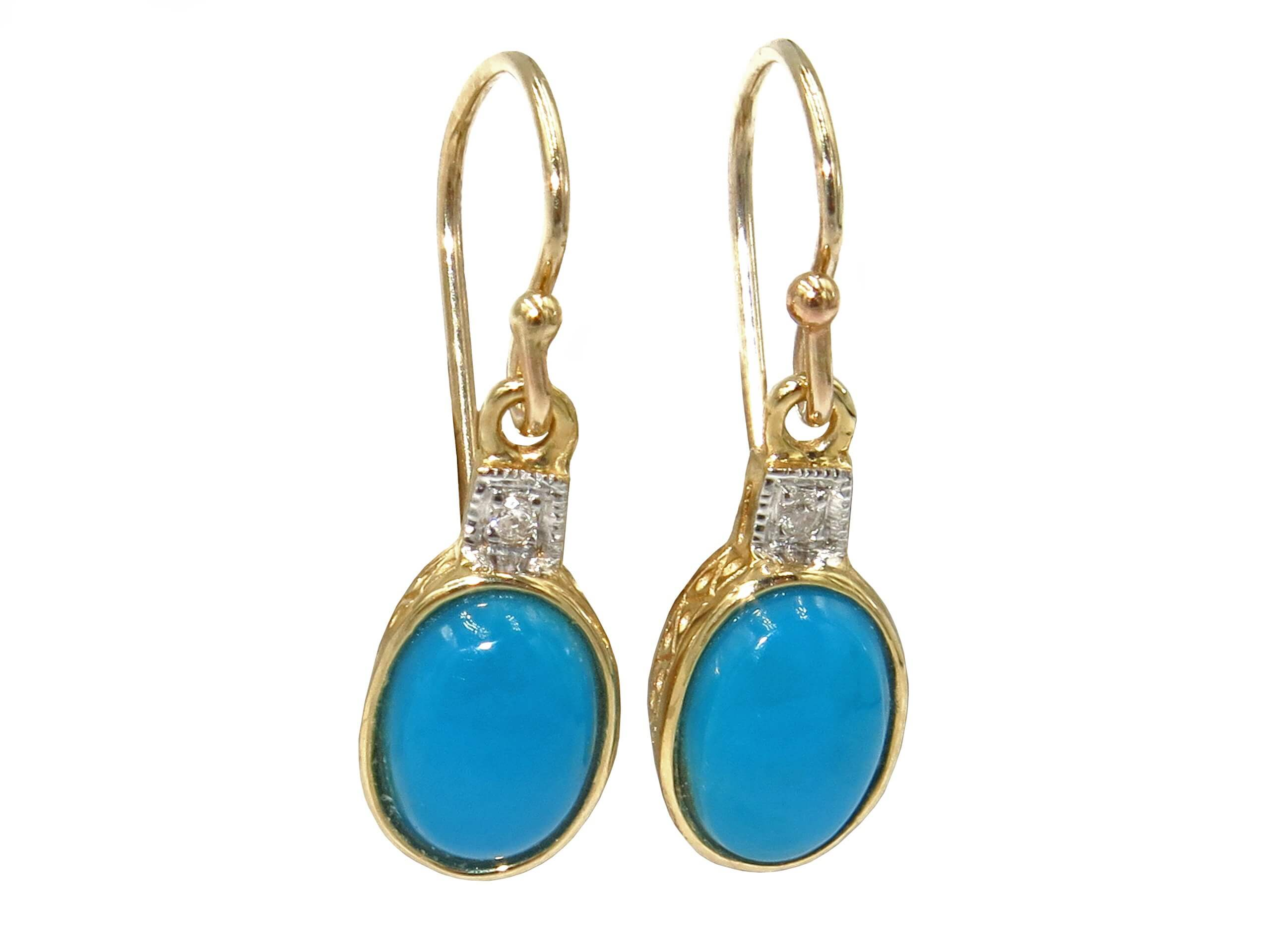TURQUOISE AND DIAMOND EARRINGS MJ24416