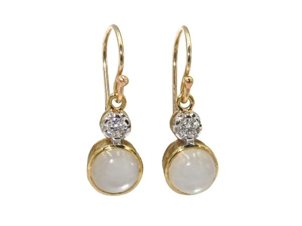MOONSTONE AND DIAMOND EARRINGS MJ24419