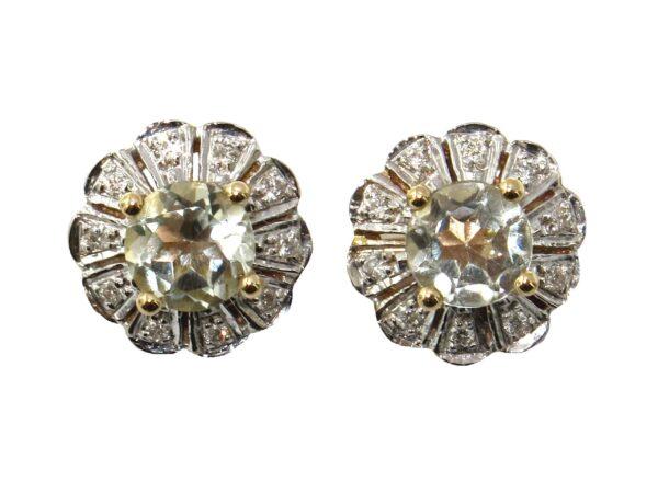 GREEN AMETHYST AND DIAMOND STUDS MJ24423