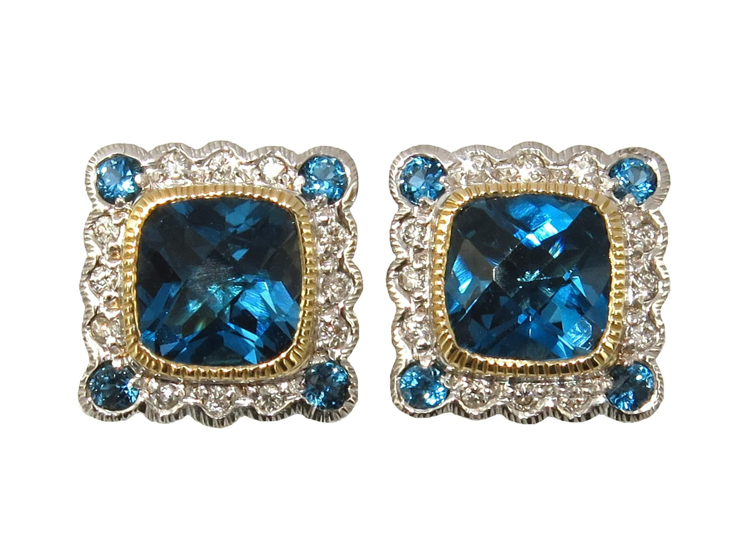 LONDON BLUE TOPAZ AND DIAMOND STUDS MJ24425