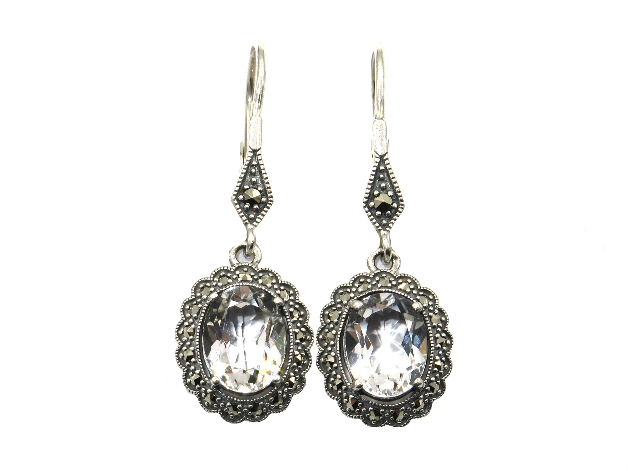 SILVER TOPAZ AND MARCASITE EARRINGS MJ24515