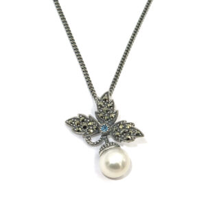 BLUE TOPAZ AND PEARL NECKLACE MJ24522