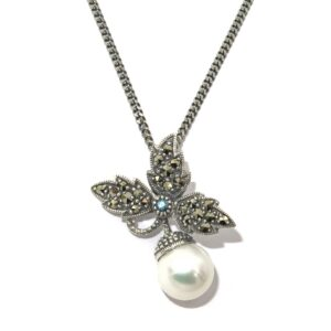 LONDON BLUE TOPAZ AND PEARL NECKLACE MJ24524