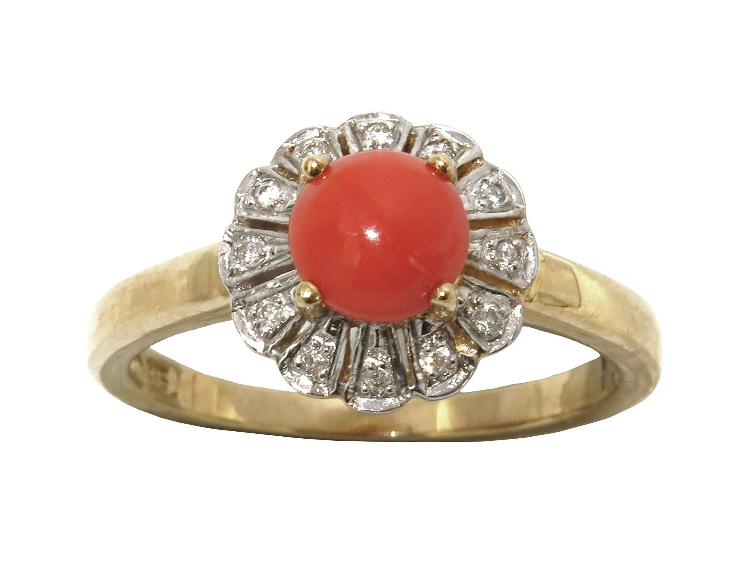 CORAL AND DIAMOND RING MJ24578