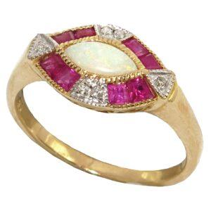 OPAL, RUBY AND DIAMOND RING MJ24580