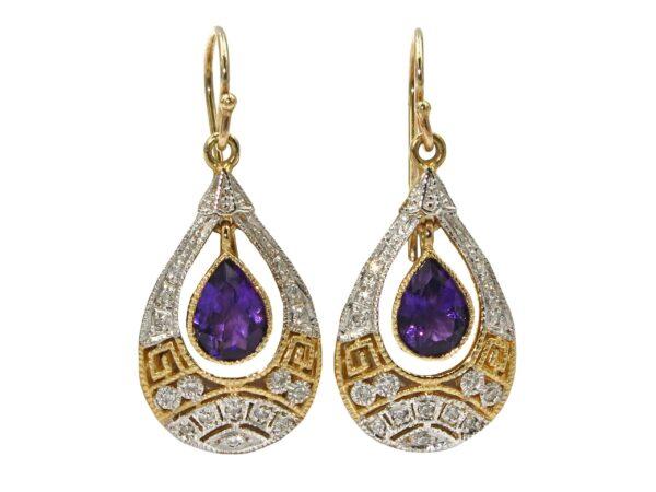 AMETHYST AND DIAMOND EARRINGS MJ24588