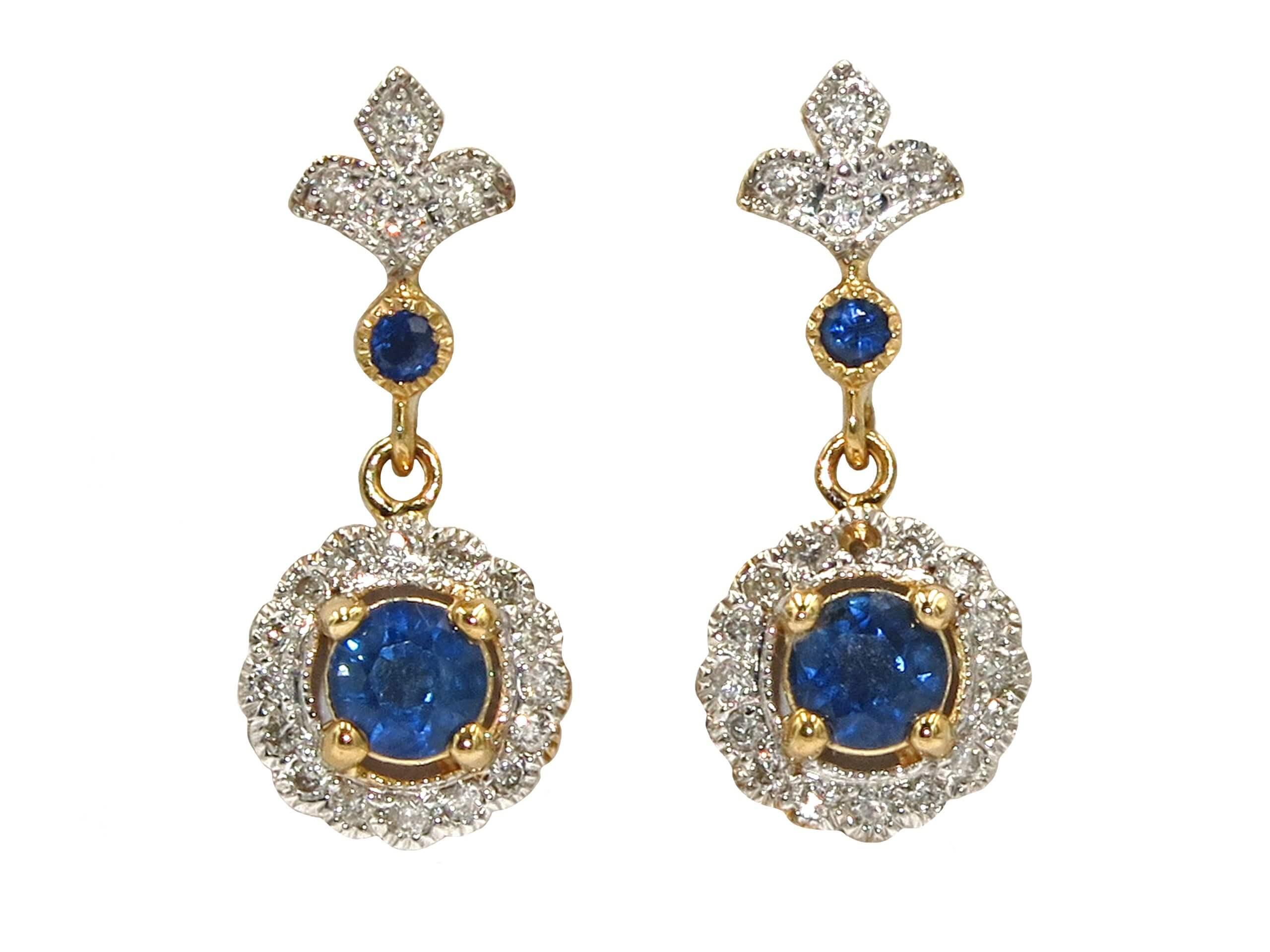 SAPPHIRE AND DIAMOND EARRINGS MJ24589