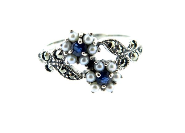 Sapphire & Seed Pearl Ring MJ3151
