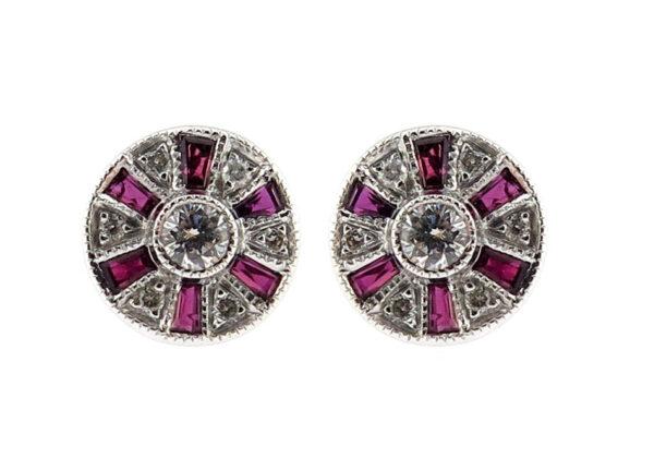 Ruby & Diamond Stud Earrings MJ5486A