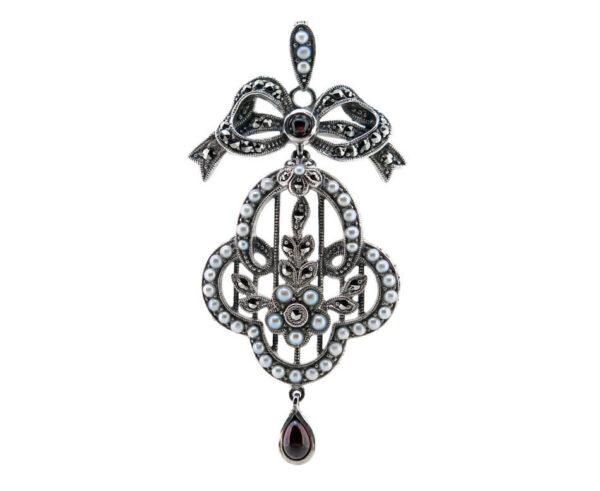 Pearl & Garnet Pendant/Brooch MJ7216