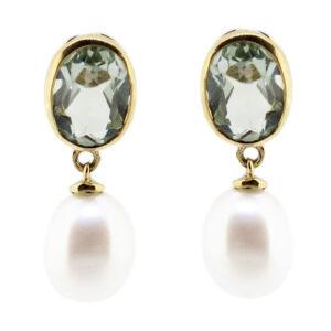 Green Amethyst & Pearl Earrings MJ7281