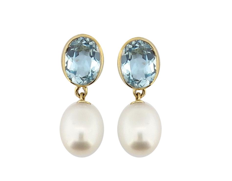 Blue Topaz & Pearl Earrings MJ8128