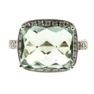 Green Amethyst & Diamond Ring MJ9169