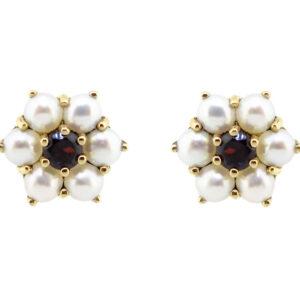 Garnet & Pearl Earrings MJ9177